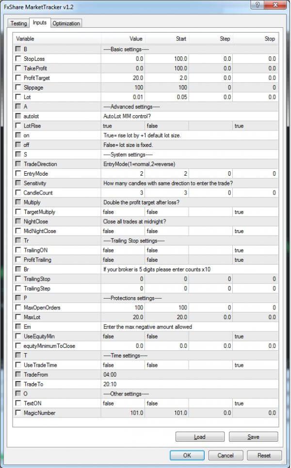 market tracker settings